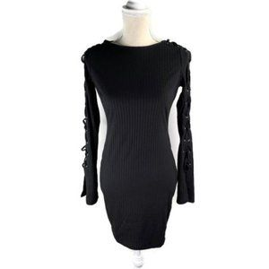 Lush Black Ribbed Bodycon Dress Tie Up Sleeves M